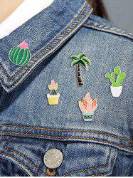 Cactus Potted Plant Brooch Set -