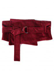 Vintage Metal Buckle Solid Color High Waist Belt -