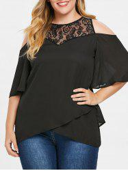 Plus Size Lace Cold Shoulder Overlap Blouse -