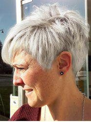 Inclined Fringe Straight Short Capless Human Hair Wig -