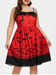 Plus Size Halloween Bats Pattern Cami Dress -