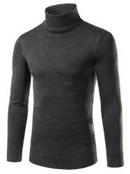Solid Turtle Neck Long Sleeve Sweater -