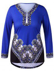 Plus Size V Neck Ethnic Print T-shirt -