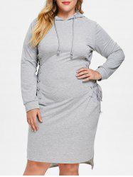 Plus Size Lace Up Hoodie Dress -