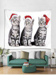 Christmas Cat Printed Tapestry Art Decoration -