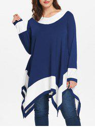 Plus Size Long Sleeve Handkerchief Tunic Top -
