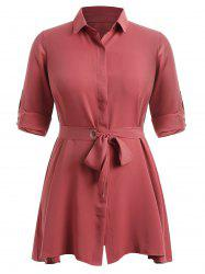 Plus Size Shirt Dress with Belt -