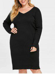 Plus Size V Neck Sweater Dress with Frayed -