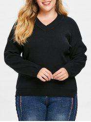 Plus Size Slit Sweater with V Neck -