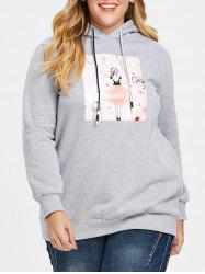 Sweat à Capuche Pull-over Long Graphique de Grande Taille -