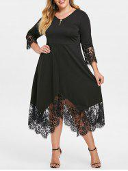 Plus Size Tie V Neck Dress with Lace Trim -