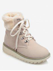 Plus Size Lace Up Faux Fur Boots -
