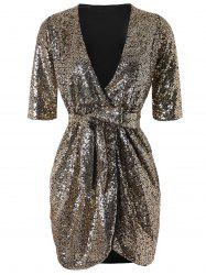 Belted Sequined Bodycon Dress -
