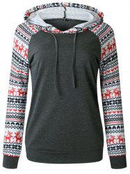Sweat à Capuche Pull-over de Noël à Manches Raglan -