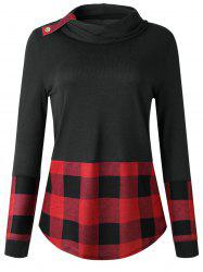 Long Sleeve Turtleneck Tartan Knitwear -