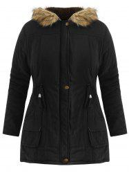 Plus Size  Drawstring Waist Anorak Coat with Pockets -