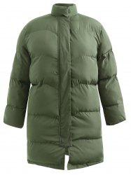 Plus Size  Longline Padded Coat with Zipper Fly -