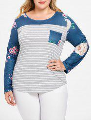 Plus Size Asymmetric Floral Striped Tee with Pocket -