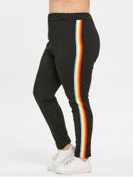 Plus Size Elastic Waisted Rainbow Ribbons Pants -