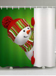 Christmas Theme Snowman Pattern Waterproof Shower Curtain -