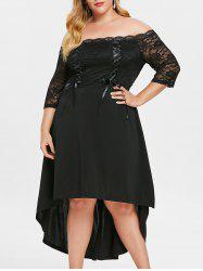 Plus Size Off Shoulder Lace Up Asymmetric Dress -
