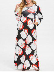 Plus Size Santa Claus Print Christmas Maxi Dress -