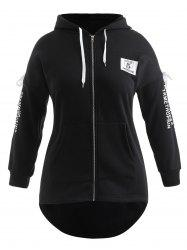 Plus Size Letters Front Pocket Lace Up Hoodie -