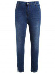 Plus Size Zipper Fly Jeans with Lace Insert -