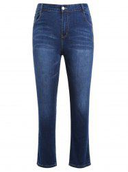 Plus Size Zipper Fly Jeans with Embroidered -