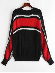 Round Neck Color Block Plus Size Sweater -