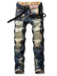 Straight Leg Destroyed Zip Fly Jeans -