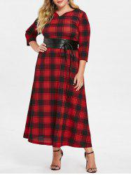 Tartan Plus Size Maxi Dress with Corset Belt -