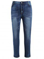 Plus Size Zipper Fly Scratch Jeans with Ribbon -