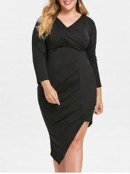 Plunge Plus Size Asymmetrical Dress -