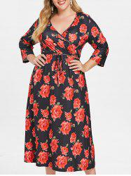 Floral Print Plus Size Belted Dress -