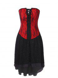 Gothic Bandeau Strapless Lace Corset Dress -