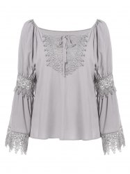 Lace Panel Long Sleeve Blouse with Tie -