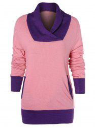 Color Trim Long Sleeve T-shirt with Pocket -