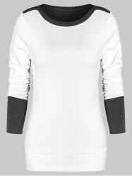 Sweat-shirt Ajusté Bicolore - Blanc Lait L