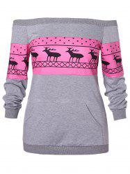 Christmas Plus Size Off Shoulder Printed Sweatshirt -