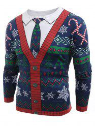 Christmas Cardigan Printed Long Sleeve T-shirt -