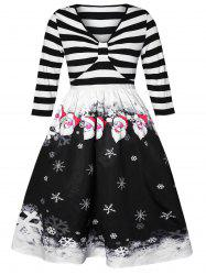 Plus Size Vintage Snowflake Stripes Christmas Flare Dress -