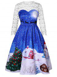 Plus Size Christmas Tree Print Lace Sleeve Ballgown Dress -
