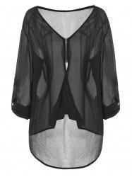 Plus Size See Through Zip High Low Button Sleeve Blouse -