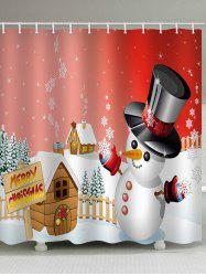 Merry Christmas Snowman Pattern Waterproof Shower Curtain -