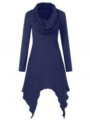 Cowl Neck Full Sleeve Handkerchief Dress -