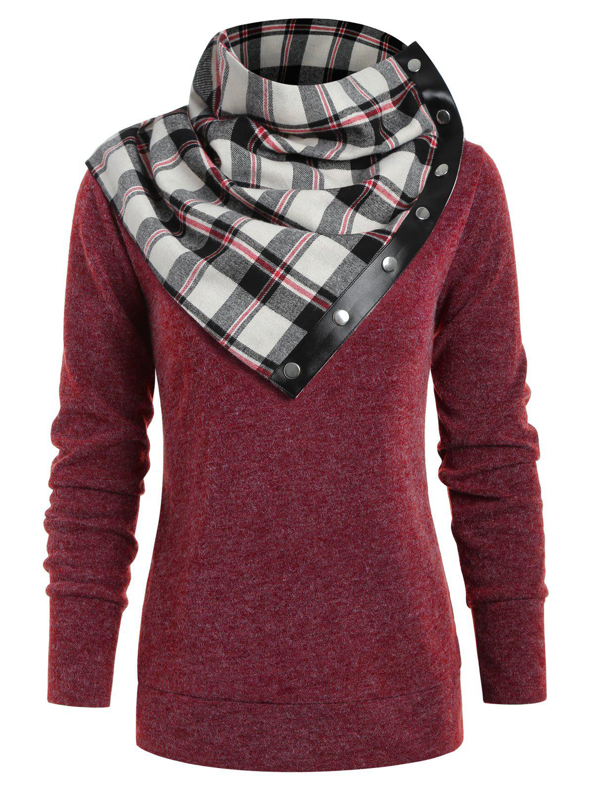 Sweat-shirt Simple à Col Rond à Tartan Rouge Vineux S