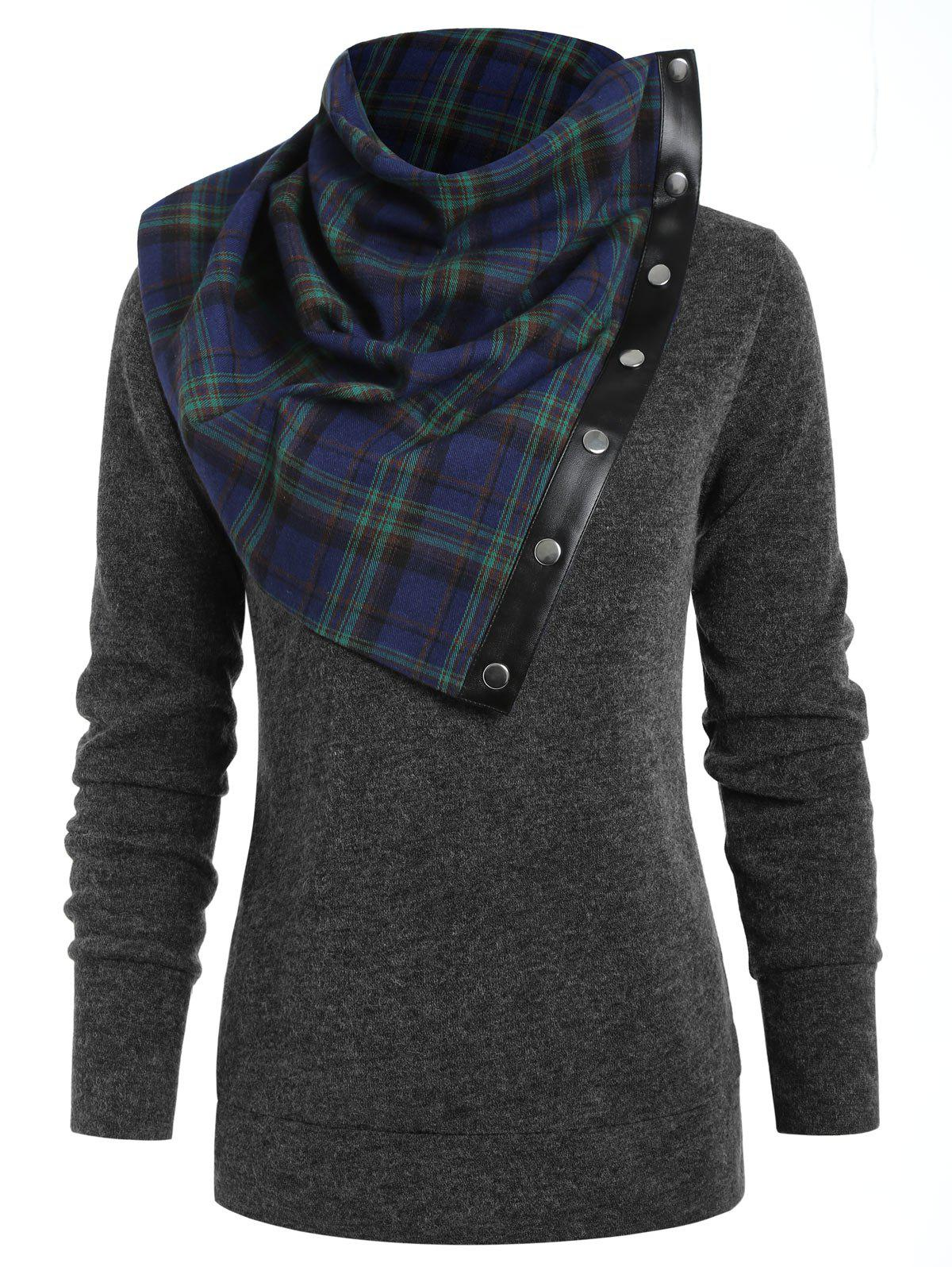 Buy Round Neck Sweatshirt with Tartan Neck Gaiter