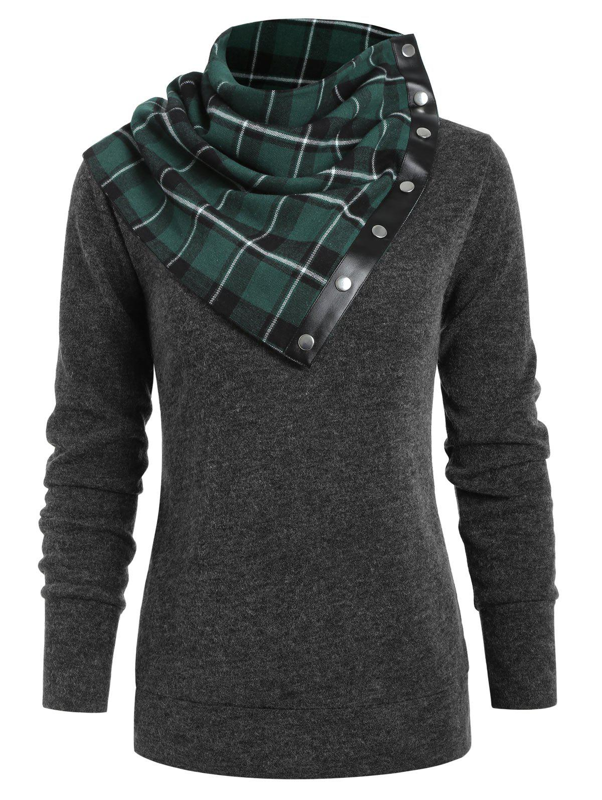 Online Round Neck Sweatshirt with Tartan Neck Gaiter