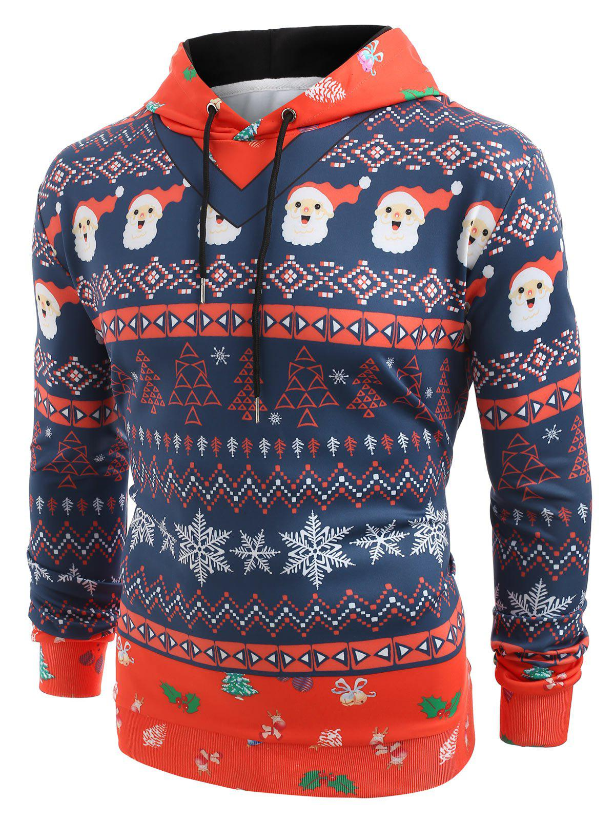 Store Layered Christmas Elements Print Hoodie